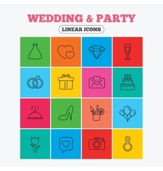 Wedding and party icon dress diamond and ring vector