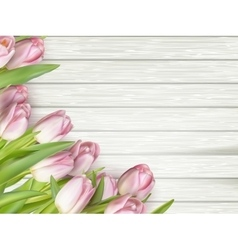 Bouquet of tulips on a wooden background eps 10 vector