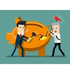 Piggy bank breaking by hammer business concept vector