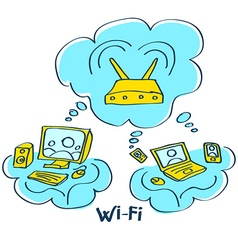 Sketch wi-fi connect pc computer mobile device vector
