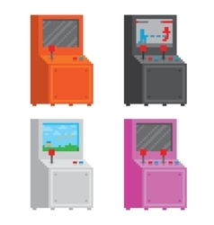 Pixel art style arcade game cabinet isolated vector