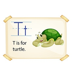 A letter T for turtle vector image