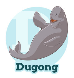 abc cartoon dugong vector image