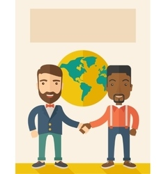 American and black guy happily handshaking vector