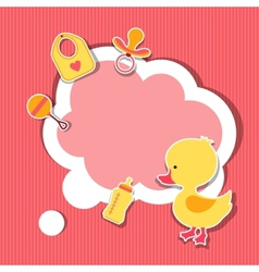 Background photo frame with little cute baby duck vector