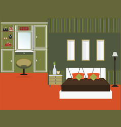 Bedroom interior flat design vector