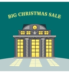 Big christmas sale glowing shop store vector