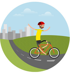 Biker riding bicycle vector