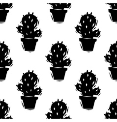 Black and white cactus seamless pattern vector