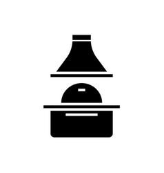 brick grill icon black sign vector image