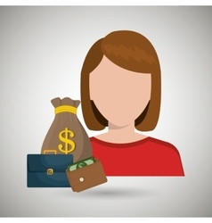 business person with money and portfolio vector image