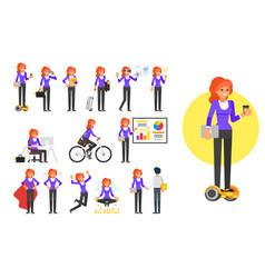 businesswoman character set vector image vector image