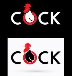 Cock text and head cock vector