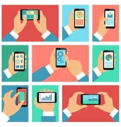 Collection of hands using mobile phone vector image vector image