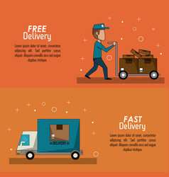 Color poster banner scene fast delivery man with vector
