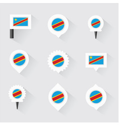 Democratic republic of the congo flag and pins vector