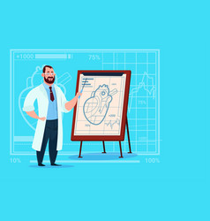 Doctor cardiologist over flip chart with heart vector