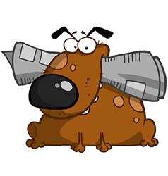 Dog Holds Newspaper In Mouth vector image vector image