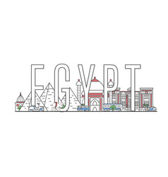 egypt travel lettering in linear style vector image vector image