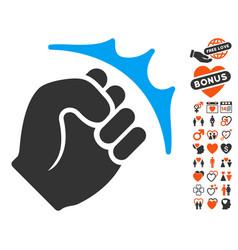 fist strike icon with lovely bonus vector image