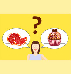 girl diet choice poster vector image