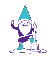 gnome with costume and shovel on color sections vector image