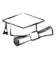 graduation hat and diploma success school icon vector image vector image
