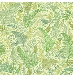 Green fern leaves seamless pattern background vector