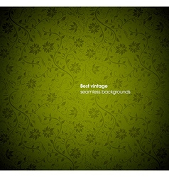 Green seamless floral background vector