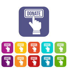 hand presses button to donate icons set vector image