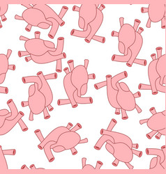 Heart anatomy body seamless pattern atrial and vector