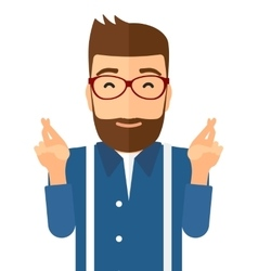 Hopeful hipster man with the beard vector