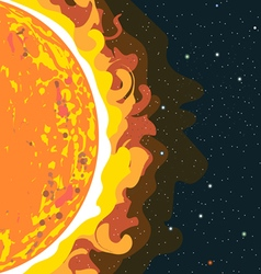 Hot sun view in section with heat and radiation vector image vector image