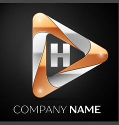 Letter h logo symbol in the colorful triangle on vector