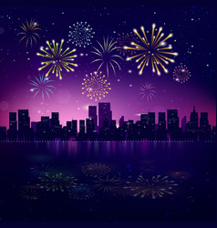 Night city skyline with fireworks vector