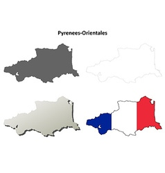 Pyrenees-Orientales Languedoc-Roussillon outline vector image vector image