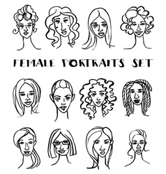 Set of female doodle hand drawn portraits black vector