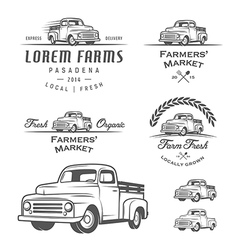 Set of retro farming labels and badges vector image