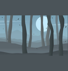 Silhouette of tree on forest scenery vector