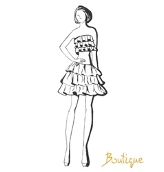 Stylized fashion model figure vector image vector image