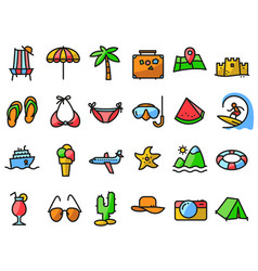 Summer beach icons set in line thin and simply vector