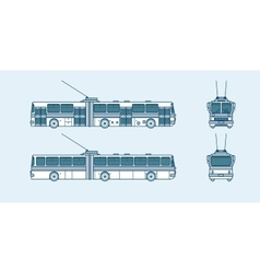 trolleybus front side back view line style vector image vector image