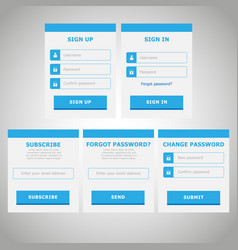 Ui web elements flat design blue vector