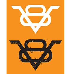 V8 Engine emblem with grunge option vector image