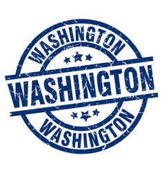 Washington blue round grunge stamp vector