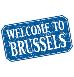 Welcome to brussels blue square grunge stamp vector