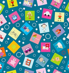 Wrapping paper for kids with cartoon toys vector