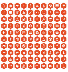 100 elephant icons hexagon orange vector