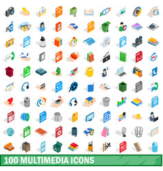 100 multimedia icons set isometric 3d style vector image vector image