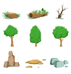 Natural landscape objects set of detailed icons vector